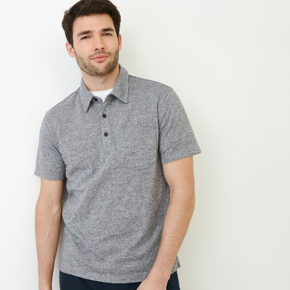 Roots-Men Shirts & Polos-Jersey Peppered Polo-Salt & Pepper-A