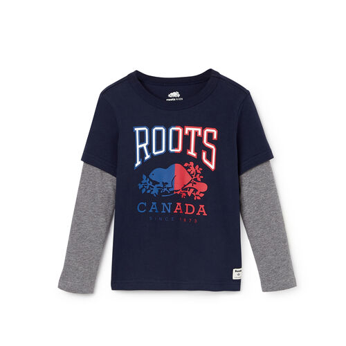 Roots-Kids Tops-Toddler Roots Classic T-shirt-Navy Blazer-A
