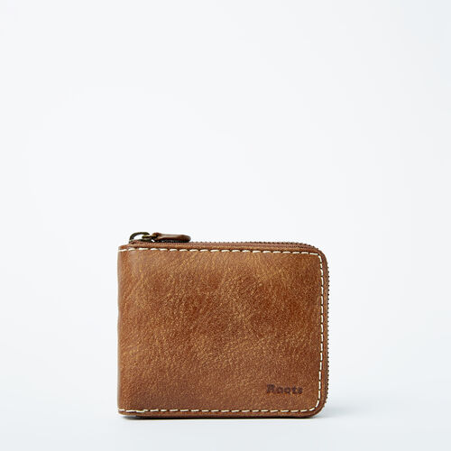 Roots-Leather  Handcrafted By Us Wallets-Mens Zip Around Wallet Tribe-Natural-A