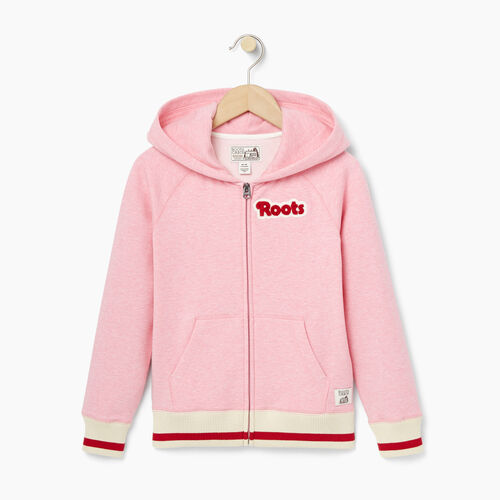 Roots-Kids Girls-Girls Cabin Full Zip Hoody-Sea Pink Mix-A