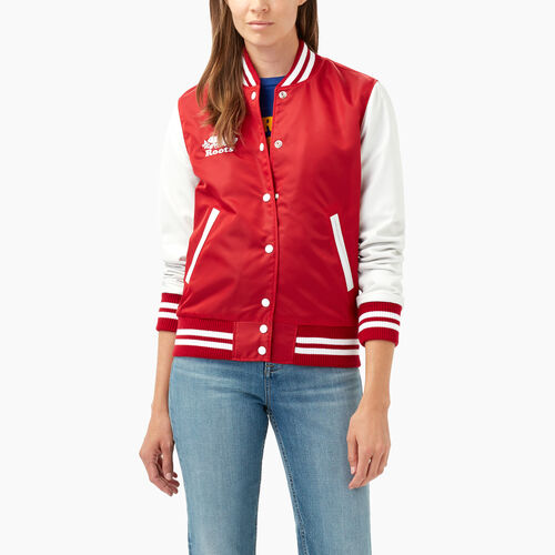 Roots-Leather  Handcrafted By Us Women's Award Jackets-Retro Varsity Jacket-Red-A