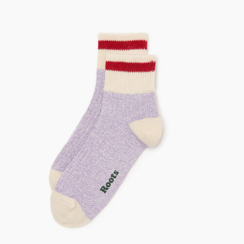Roots-Women Accessories-Cotton Cabin Ankle Sock 2 pack-Purple-A
