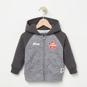 Roots-Kids Sweats-Baby Heritage Canada Full Zip Hoody-Salt & Pepper-A