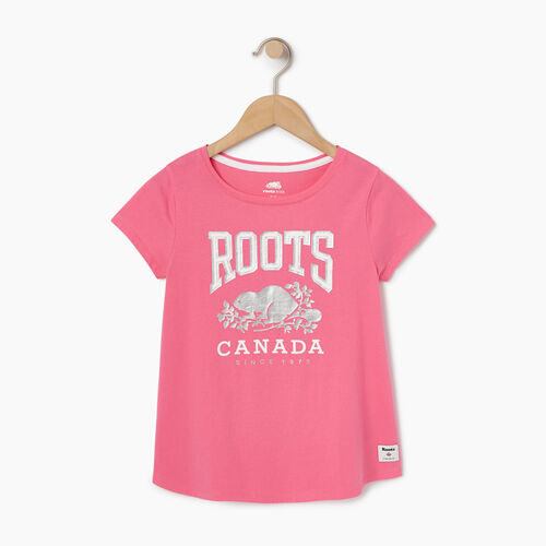 Roots-Kids Tops-Girls Swing T-shirt-Azalea Pink-A