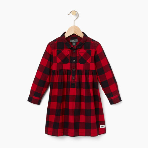Roots-New For October Kids-Toddler Park Plaid Dress-Lodge Red-A