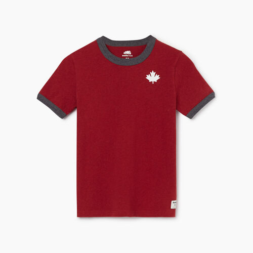 Roots-Kids Tops-Boys Canada Ringer T-shirt-Cabin Red Mix-A