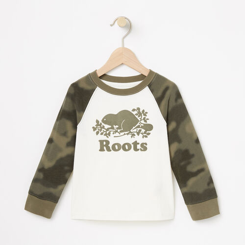 Roots-Kids Tops-Toddler Blurred Camo Top-Vintage White-A