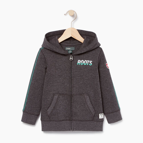 Roots-Kids Tops-Toddler Roots Speedy Full Zip Hoody-Charcoal Mix-A