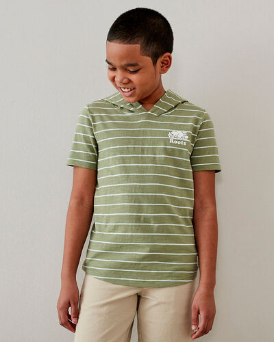 Roots-Kids T-shirts-Boys Camp Hoodie T-shirt-Washed Olive-A