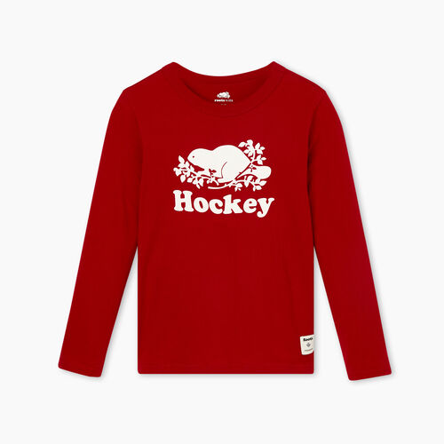 Roots-Kids T-shirts-Boys Original Hockey T-shirt-Cabin Red-A
