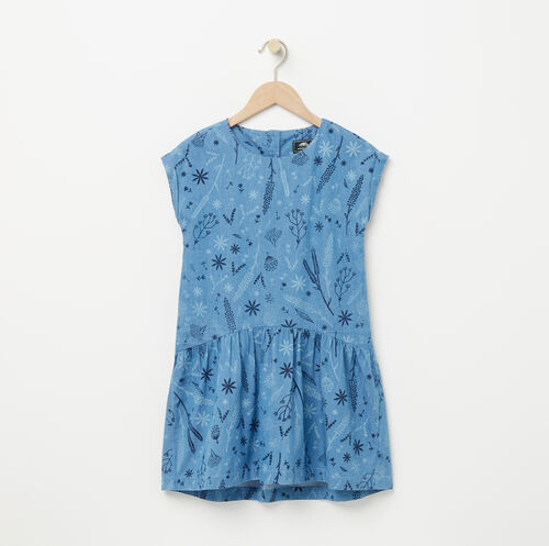 Roots-Sale Girls-Girls Denim Floral Dress-Denim Blue-A