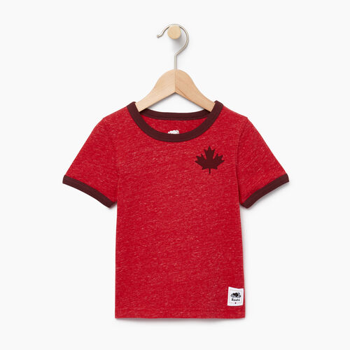 Roots-Sale Kids-Toddler Canada Cabin Ringer T-shirt-Sage Red Mix-A