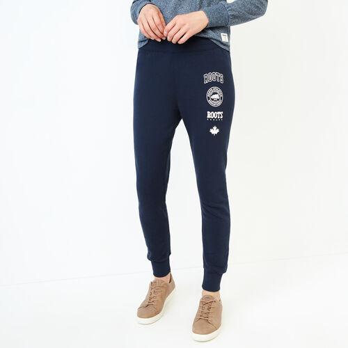 Roots-Women Sweats-Stamps Slim Sweatpant-Navy Blazer-A