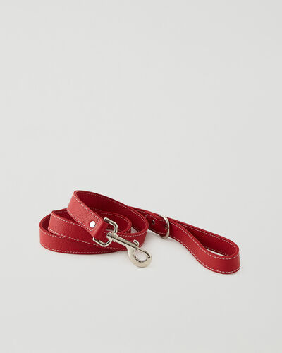 Roots-Leather Dog Accessories-Leather Dog Leash-Lipstick Red-A