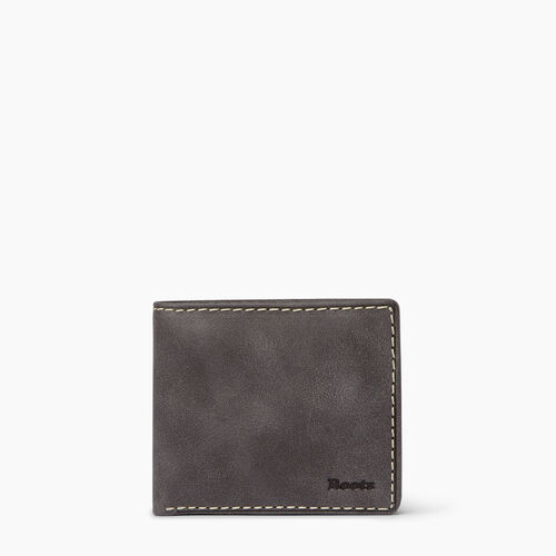 Roots-Leather  Handcrafted By Us Categories-Mens Slimfold Wallet With Coin Pocket-Charcoal-A
