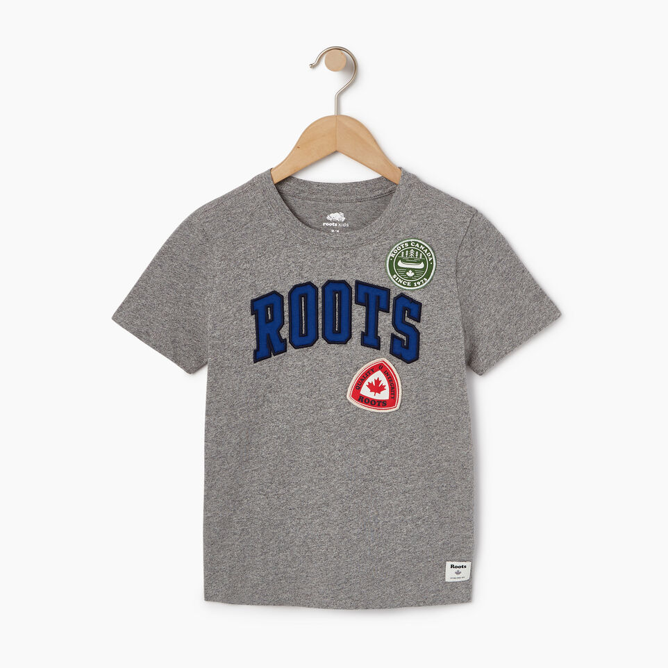 Roots-Kids Our Favourite New Arrivals-Boys Roots Patches T-shirt-Salt & Pepper-A