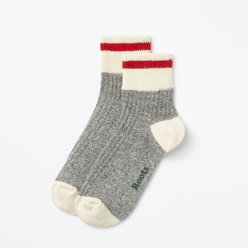 Roots-Women Socks-Womens Cotton Cabin Ankle Sock 2 Pack-Salt & Pepper-A