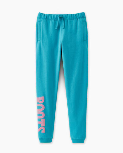 Roots-Sweats Girls-Girls Retro Slim Cuff Sweatpant-Peacock Blue-A