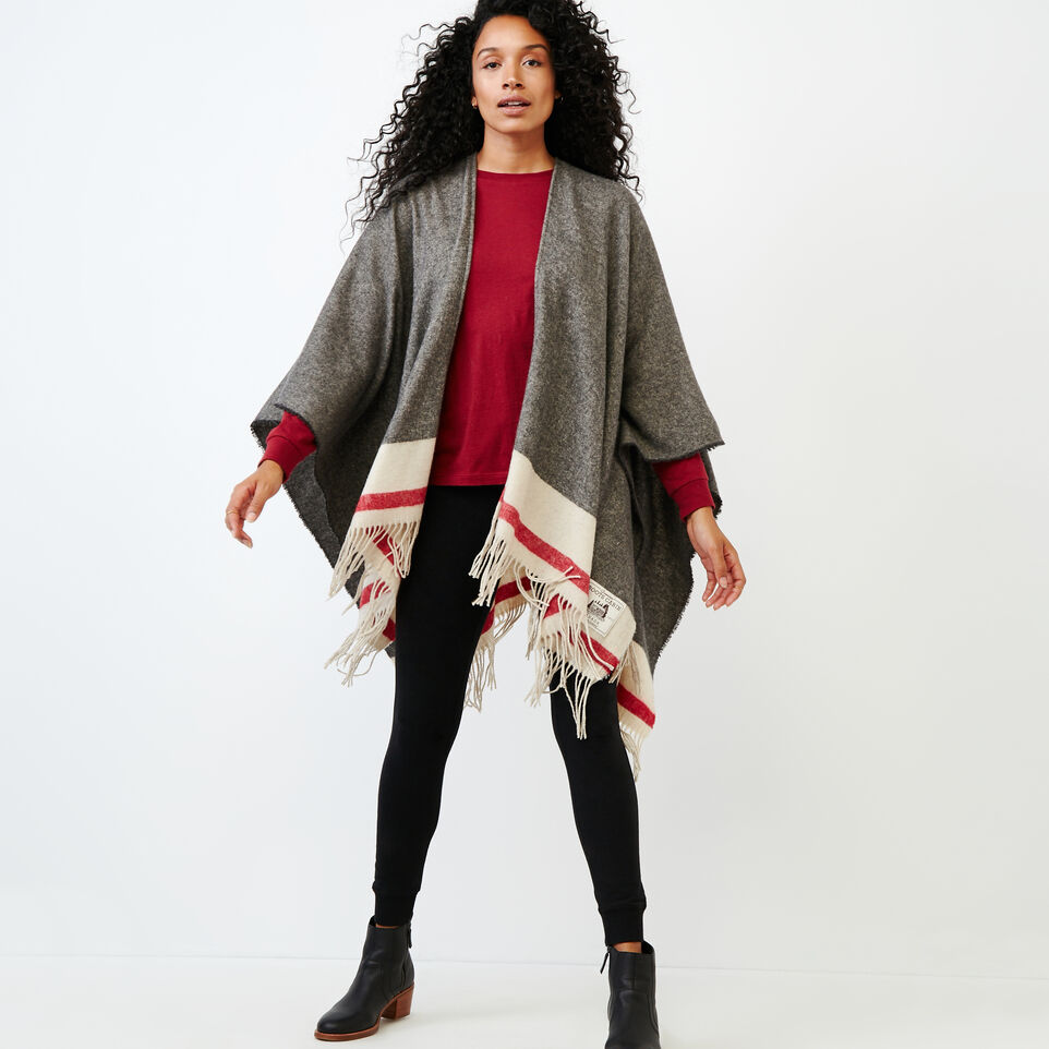 Roots-Women Categories-Roots Cabin Wrap-Grey Oat Mix-A