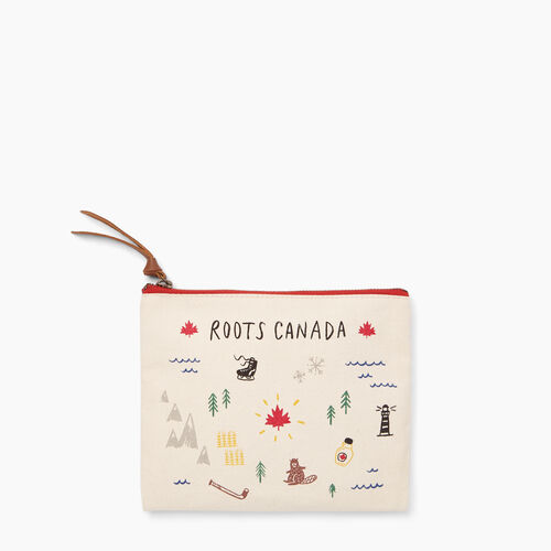 Roots-New For November General Store-Roots Canvas Clutch-Birch White-A