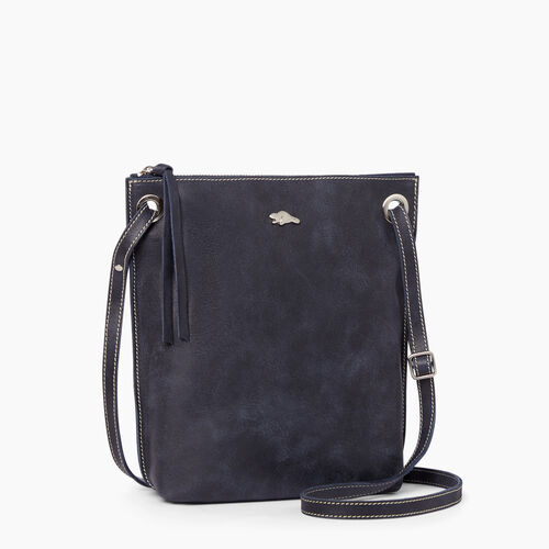 Roots-Leather  Handcrafted By Us Handbags-Festival Bag Tribe-Dark Navy-A