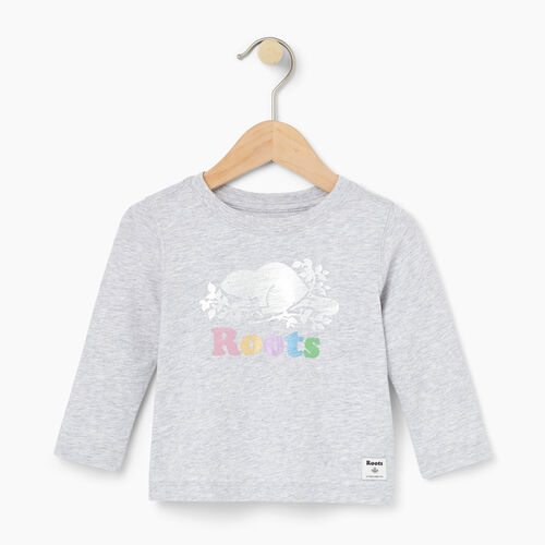Roots-Kids Baby-Baby Foil Cooper Beaver T-shirt-Snowy Ice Mix-A