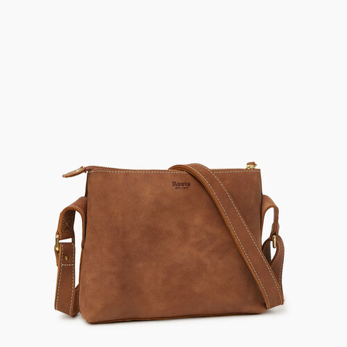 Roots-Leather  Handcrafted By Us Our Favourite New Arrivals-Journey Crossbody Tribe-Natural-A