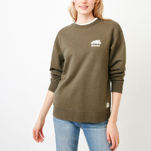 Roots-New For March Sweats-Boyfriend Crew Sweatshirt-Fatigue-A