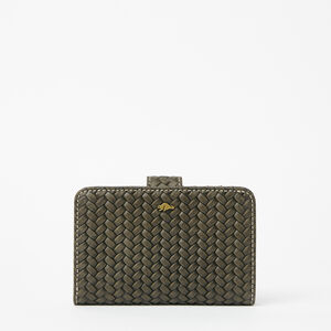 Roots-Leather Wallets-Bridget Wallet Woven-Pine-A