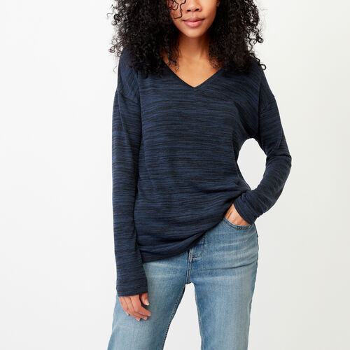 Roots-Women Long Sleeve Tops-Melissa V Neck Top-Navy Blazer Mix-A