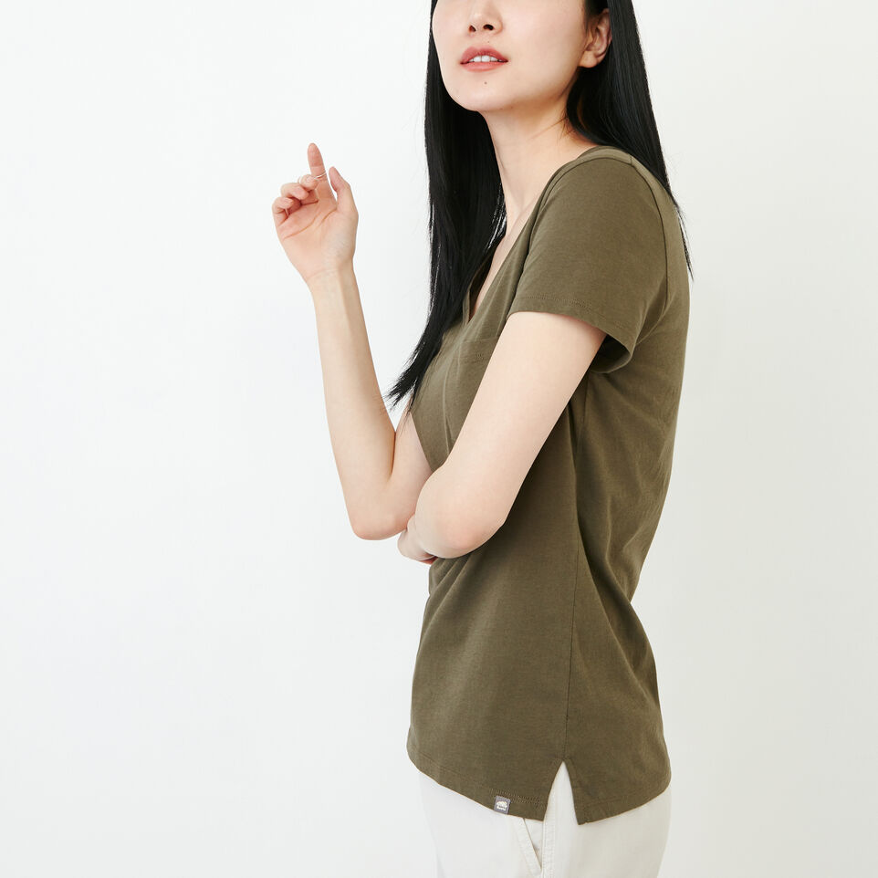 Roots-Women Our Favourite New Arrivals-Essential V T-shirt-Fatigue-C