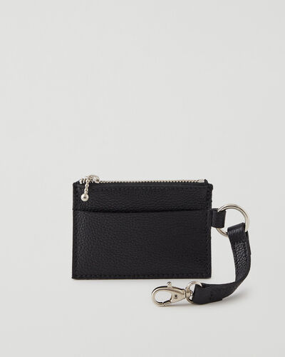 Roots-Leather Leather Accessories-Small Zip Pouch Cervino-Black-A