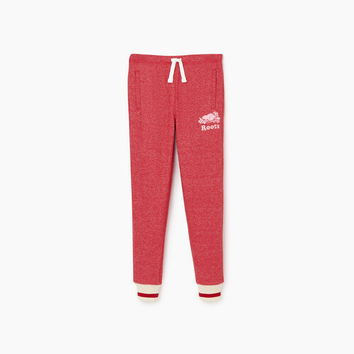 Roots-Kids Bottoms-Girls Roots Cabin Cozy Sweatpant-Cabin Red Pepper-A