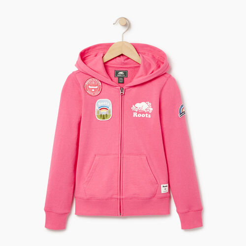 Roots-Sale Kids-Girls Patches Full Zip Hoody-Azalea Pink-A