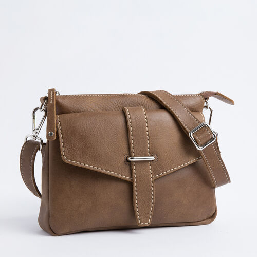 Roots-Women Bags-Cross Saddle Tribe-Natural-A