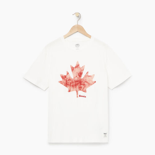 Roots-Men Tops-Mens Maple Chroma T-shirt-Ivory-A