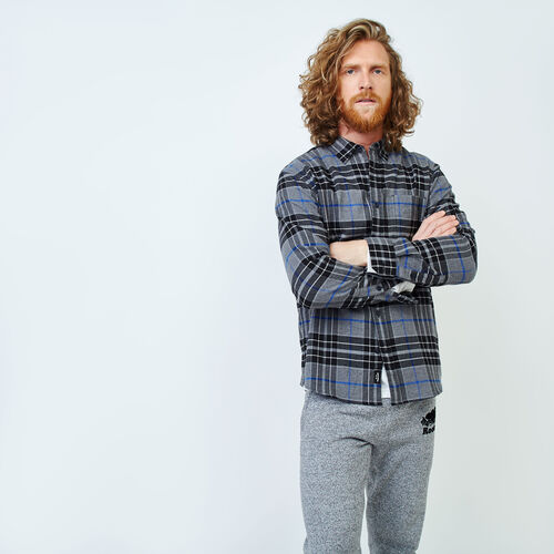 Roots-Men Categories-Clossen Flannel Shirt-Med Grey Mix-A