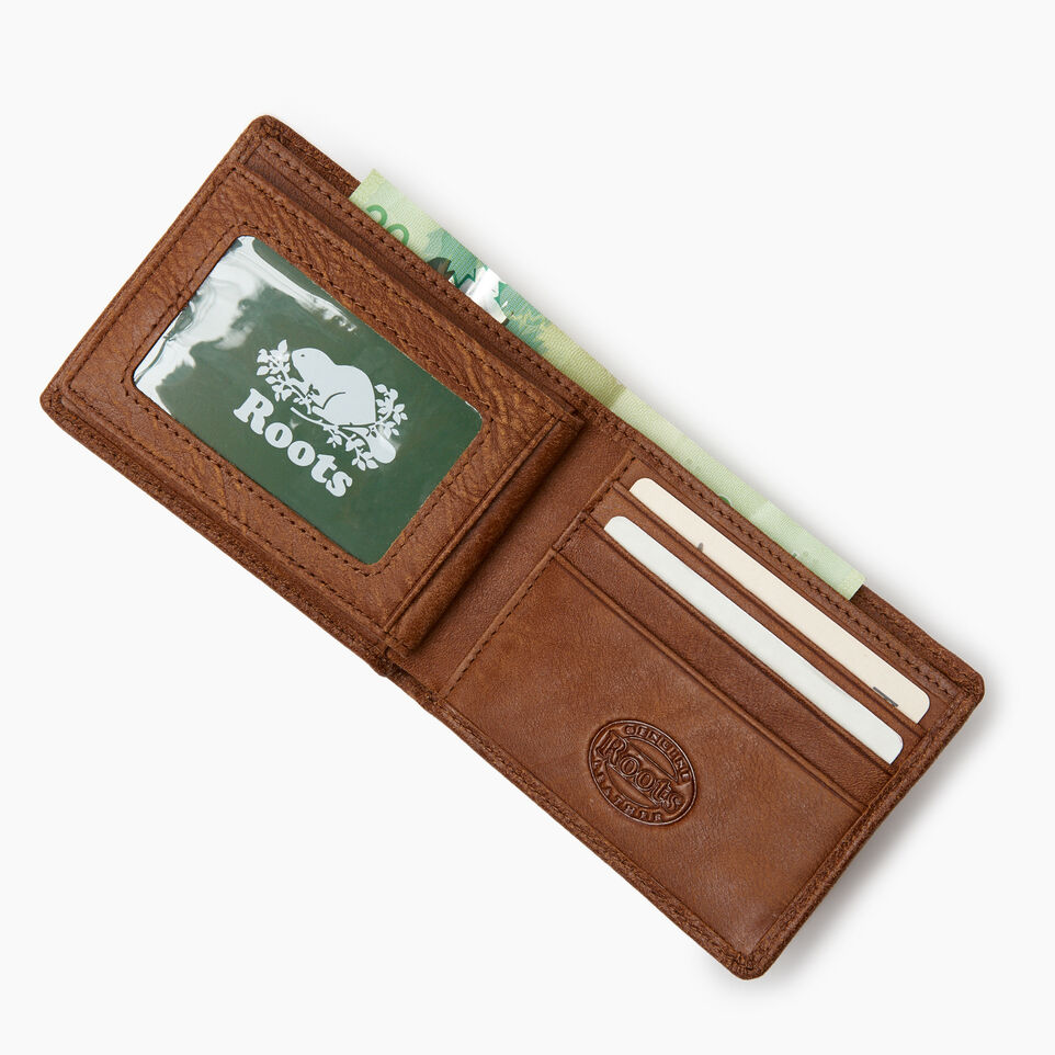 Roots-Leather Wallets-Mens Slimfold Wallet With Side Flap-Natural-B