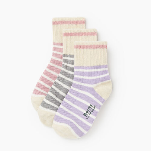 Roots-Kids Accessories-Kids Breton Cabin Sock 3 Pack-Pink-A