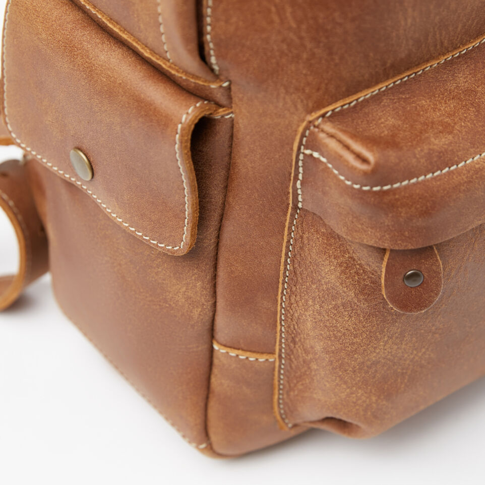 Roots-Leather Backpacks-Central Pack-Natural-D