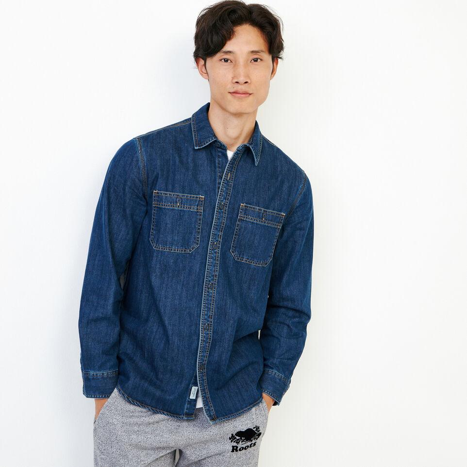 Roots-Men Our Favourite New Arrivals-Denim Work Shirt-Vintage Wash-A