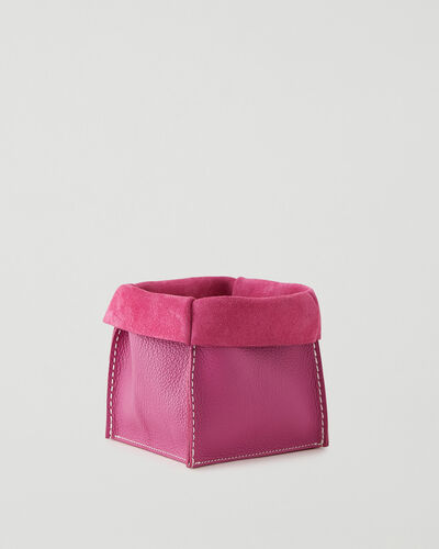 Roots-Leather Leather Accessories-Medium Rollover Basket Cervino-Pink Orchid-A