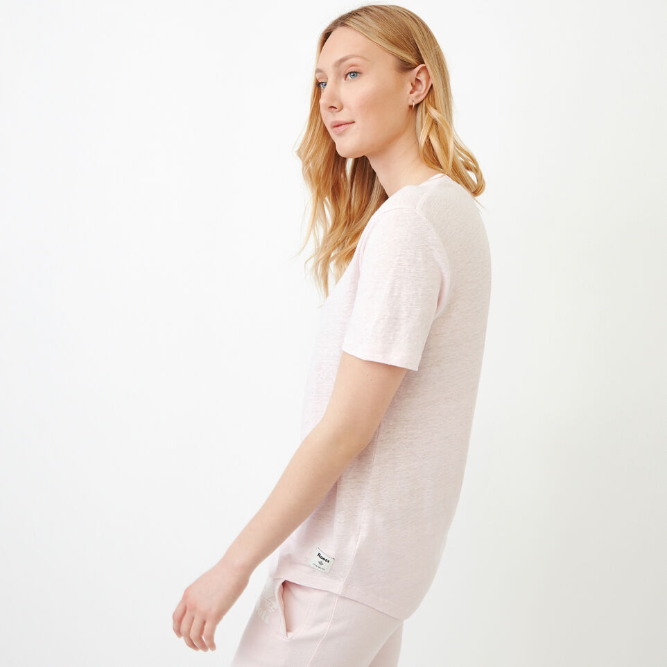 Roots-Women Our Favourite New Arrivals-Linen V Neck Top-Cradle Pink-C