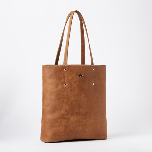 Roots-Leather  Handcrafted By Us Handbags-Large Downtown Tote Tribe-Natural-A