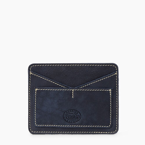 Roots-Leather Tech & Travel-Passport Card Holder Tribe-Dark Navy-A
