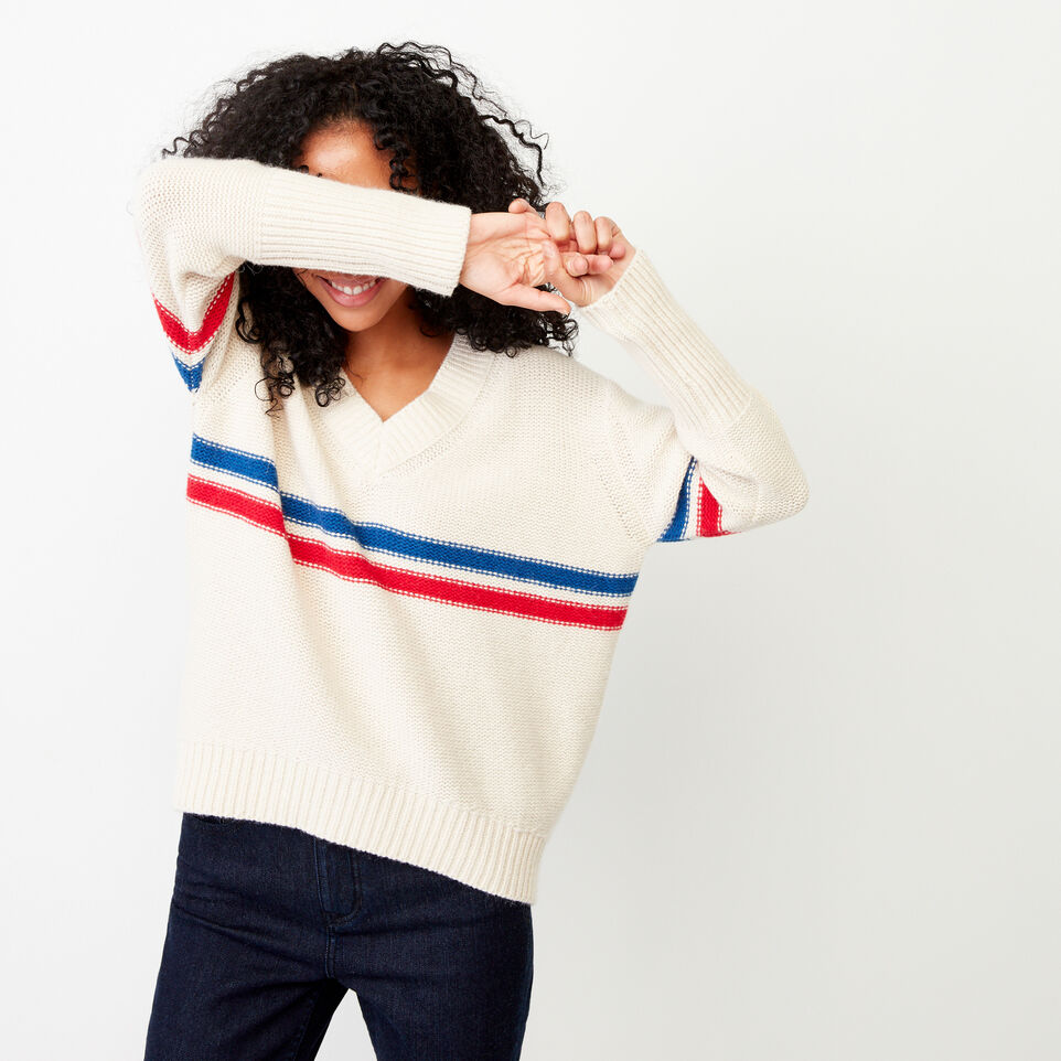 Roots-Women Our Favourite New Arrivals-Westwood V Neck Sweater-Light Fog-A