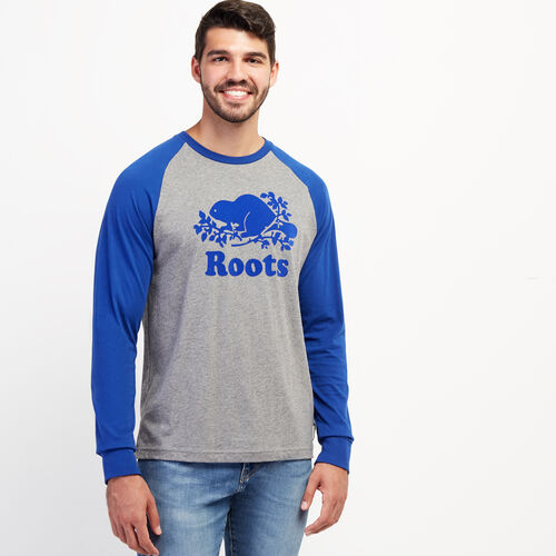 Roots-Men New Arrivals-Mens Cooper Raglan Long Sleeve T-shirt-Med Grey Mix-A