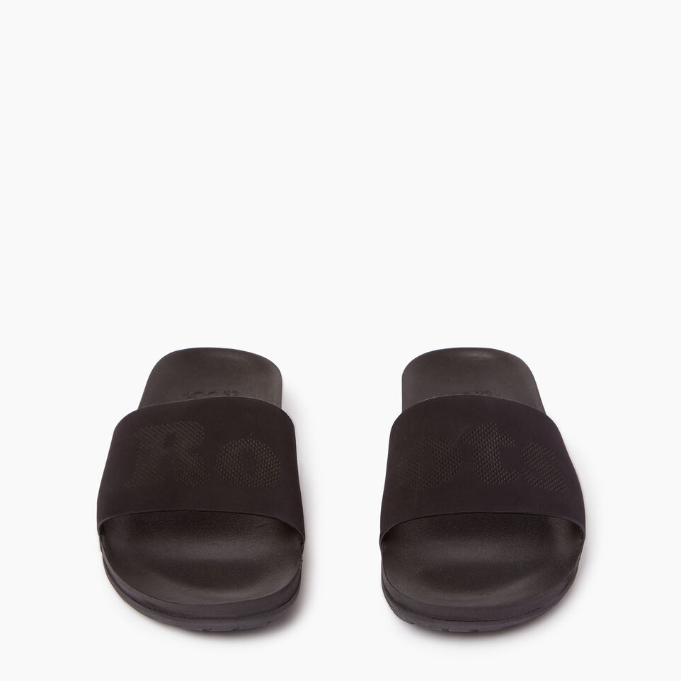 Roots-Footwear Our Favourite New Arrivals-Womens Long Beach Pool Slide-Black-D