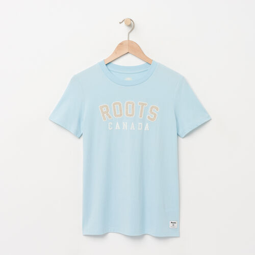 Roots-Women Graphic T-shirts-Womens Classic Roots T-shirt-Corydalis Blue-A