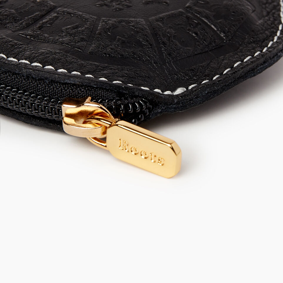 Roots-Women Leather Accessories-Zodiac Coin Pouch-Black-D